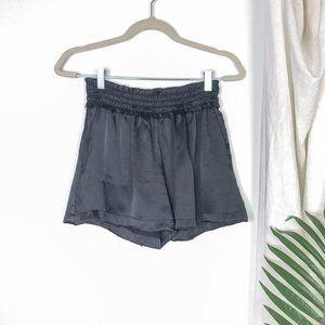 ALEXIS Black High Rise Ruffle Trim Satin Shorts